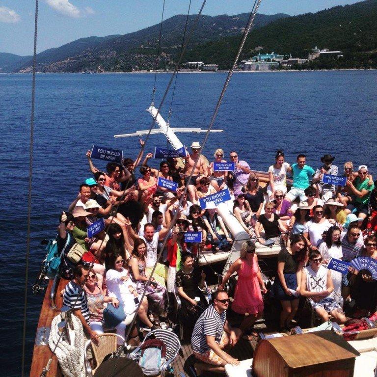 Saint George ship, departure from Ormos Panagias
