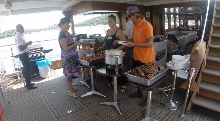 Barbecue and buffet meal on a cruise in Halkidiki