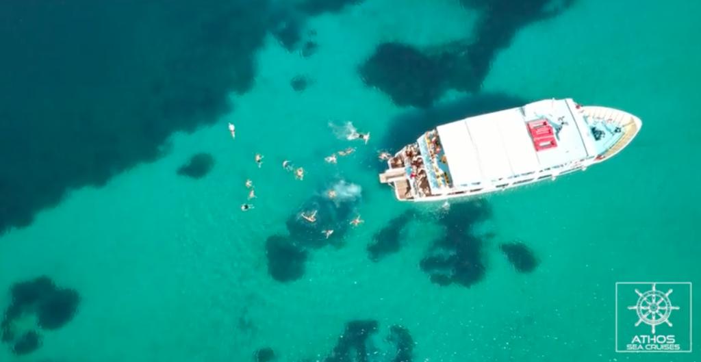 Ioanna boat drone capture in Halkidiki