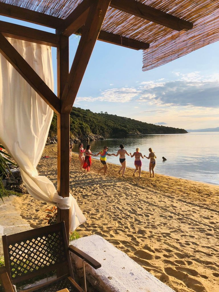 Banana beach on Ammouliani island Halkidiki Greece