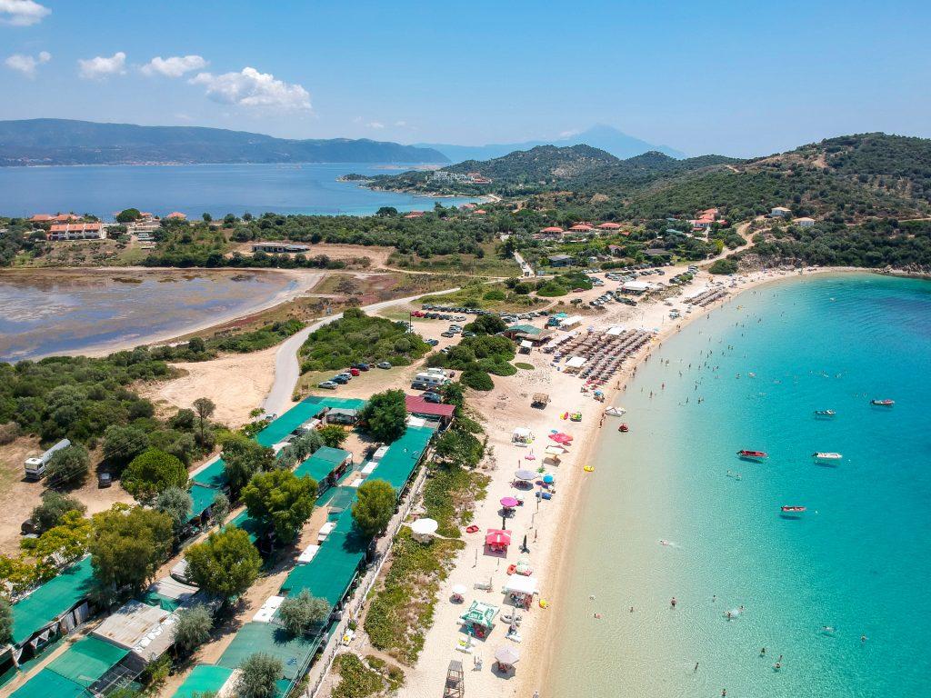 Alykes beach, Alykes lake and limani beach on ammouliani