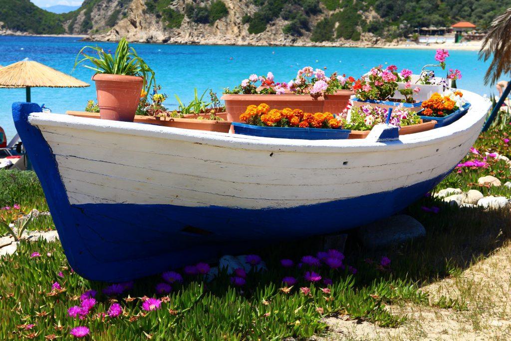 An old fishing boat on Ammouliani island